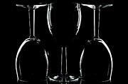 Vin Posters - Wine glasses on black Poster by Richard Thomas