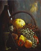 Grapes Paintings - Wine Goblet by Harvie Brown