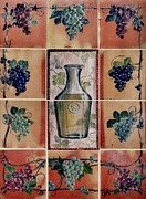 Wine Ceramics Framed Prints - Wine Grape Mural Framed Print by Andrew Drozdowicz