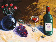 Red Wine Bottle Prints - Wine Grapes and Roses Still Life Painting Print by Mark Webster
