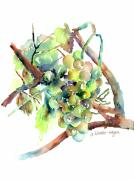 Grapevines Painting Prints - Wine Grapes Print by Arline Wagner