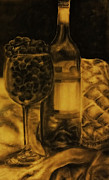 Wine Bottles Pastels - Wine Grapes by Tylir Wisdom