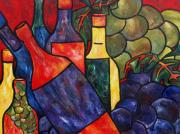 Grapes Paintings - Wine In Color by Patti Schermerhorn
