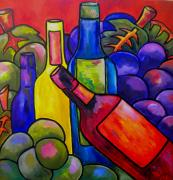 Grapes Paintings - Wine In Orange by Patti Schermerhorn