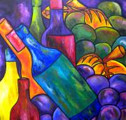 Italian Wine Art Prints - Wine In Purple Print by Patti Schermerhorn