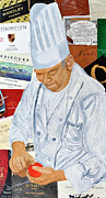 Food And Beverage Mixed Media Originals - Wine Label Chef by Michael Lee