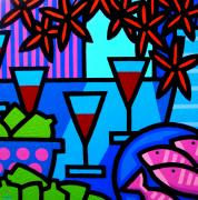 Wine Glass Paintings - Wine Limes Flowers and Fish by John  Nolan