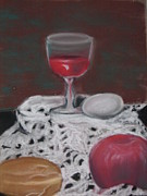 Egg Pastels Posters - Wine Poster by Lisa Voight