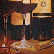 Wine Glasses Paintings - Wine Night by Linda Capizano