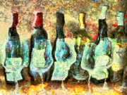 Wine Glasses Mixed Media Prints - Wine on the Town Print by Marilyn Sholin