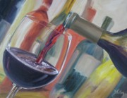 Pouring Wine Painting Prints - Wine Pour Print by Donna Tuten