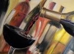 Red Wine Paintings - Wine Pour II by Donna Tuten
