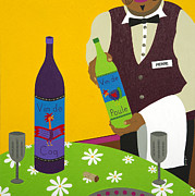 Wine Glasses Painting Originals - Wine Sommelier by Kort Duce