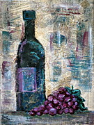 Wine Bottle Mixed Media Framed Prints - Wine Still Life 1 Framed Print by Janice Gelona