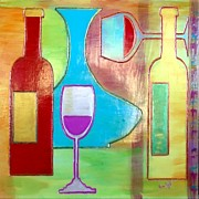 Wine Glasses Mixed Media Prints - Wine Tasting Print by Char Swift