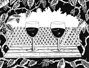 Wine Grapes Drawings Posters - Wine Time Poster by Bob Veon