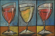 Stylized Beverage Painting Framed Prints - Wine Trio - Option One Framed Print by Tim Nyberg