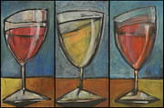 Stylized Beverage Painting Prints - Wine Trio Option 2 Print by Tim Nyberg