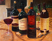 Italian Wine Painting Originals - Wine Variety by Ruthe Dawes