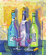 Wine Glasses Digital Art Prints - Wine Wine Wine Print by Arline Wagner