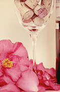 Wine Glass Posters - Wine with Camellia Poster by Kim Fearheiley