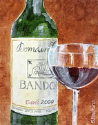 Wine Bottle Paintings - Wine with Dinner by Sheryl Heatherly Hawkins