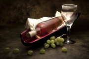 Wine Bottle Art Posters - Wine with Grapes and Glass Still Life Poster by Tom Mc Nemar