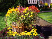 Barrels Prints - Winebarrel Garden Print by David Lloyd Glover
