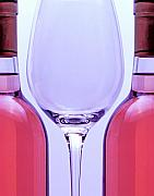 Symmetry Metal Prints - Wineglass and Bottles Metal Print by Tom Mc Nemar