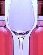 Wineglass And Bottles Print by Tom Mc Nemar
