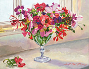 Kitchen Window Paintings - Wineglass Arrangement by David Lloyd Glover