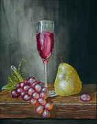 Wine Lovers Prints - Wineglass grapes and a pear Print by Terry  Stokely