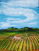 Winery Paintings - Winery Rows by Mitchell McClenney