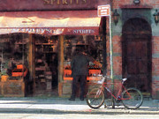 Shopfronts Framed Prints - Wines and Spirits Greenwich Village Framed Print by Susan Savad