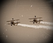 Bi Plane Prints - Wing Walkers Print by Sharon Lisa Clarke