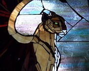 Wildlife Glass Art Originals - Winged Cougar by Susan Begin
