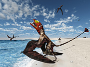 Behavior Digital Art - Winged Dimorphodon Pluck Fish by Walter Myers