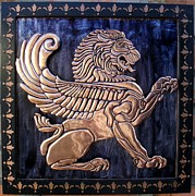 Copper Reliefs Framed Prints - Winged Lion Framed Print by Cacaio Tavares