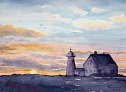 Daylight Painting Posters - Wings Neck Lighthouse Bourne Massachusetts Watercolor Poster by Michelle Wiarda
