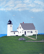 North American Lighthouses - Paintings By Frederic Kohli - Wings Neck Lighthouse Painting by Frederic Kohli