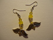 Yellow Jewelry Acrylic Prints - Wings of an Angel Earrings Acrylic Print by Jenna Green