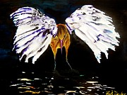 Crane Painting Originals - Wings of an Angel by Lil Taylor