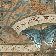Cream Scroll Prints - Wings of Hope Print by Debbie DeWitt