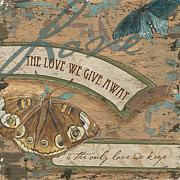 Cream Scroll Prints - Wings of Love Print by Debbie DeWitt