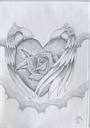 Wings Drawings - Wings of Love by Justin Murdock