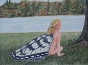 Resting Pastels Metal Prints - Wings Resting Metal Print by Elaine Read-Cole