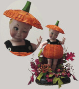 Red Leaves Ceramics - Winker in Pumpkin Costume by Shirley Heyn