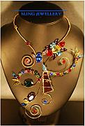 Music Jewelry - Winking Eye Wire Multi-Coloured Crystal and Glass Art Necklace by Janine Antulov
