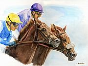 Thoroughbred Paintings - Winner by nose by Jana Goode