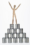 Canned Food Prints - Winner on top of pyramid Print by Sami Sarkis